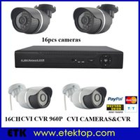 Wholesale Surveillance Dvr Kit Diy - 16Ch HD-CVI DVR CVR DIY Kit +16pcs CMOS 2MP 1080P Surveillance Security Cameras