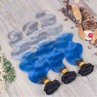 Wholesale Brazilian Hair Bundles Grey - Three Tone Ombre Body Wave Hair 3 Bundles Malaysian Virgin Unprocess Hair 1b Blue Grey Human Hair Extensions