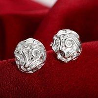 Wholesale 4g Earrings - Simple Bright Romantic Rose Silver Plated Insert Type Stud Earrings Girl Woman Lovers Valentine Gift Popular America Europe Diamtr1.2CM 4g