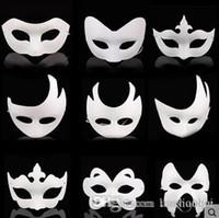 Wholesale Diy Unpainted Blank Pulp Mask - Wholesale White Unpainted Face Mask Plain Blank Version Paper Pulp Mask DIY Masquerade Masque Mask