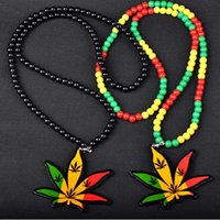 Wholesale Hip Hop Beaded Acrylic Necklaces - 2016 New Women Fashion Hemp Leaf Necklaces DJ Hip Hop Mens Necklaces Yakeli Pendant Necklace Jewelry MK682