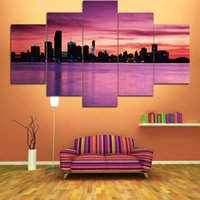 Wholesale Canvas Picture Beach - Living Room Bedroom Spray Painting Wall Decorative Painting Beach Sunset Natural City Landscape Wall Decor Paints Unframed 5 Panels