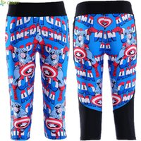 Wholesale Leggings Fashion Trend - Captain America Fashion Women Capris Pants Skinny Breathable Quick Dry Trousers Pocket Leggings Casual Trend calf-length Pants