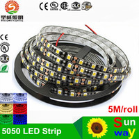Pcb Led Azul Baratos-Recientemente negro PCB LED tira 5050 DC12V IP65 impermeable 60LED / m 5m / rollo blanco / caliente blanco / rojo / verde / azul / RGB 5050 LED tira