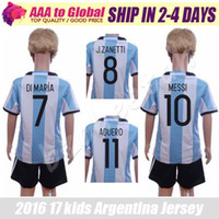 Wholesale Boys 16 - Argentina kids kit best thai soccer jerseys 16 17 Euro Cup children Argentina football shirts 2017 boys camisa de futebol Argentina uniforms