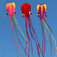 Wholesale Large Nylon Kite - free shipping high quality soft octopus kite with handle line outdoor toys flying kite reel windsock large kite game jouer