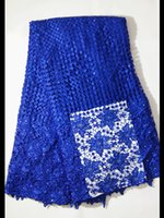 Wholesale Flowers Colored Stones - 5 yards pc Charming royal blue african cord lace fabric with stone water soluble guipure lace flower pattern for clothing ZW4-4
