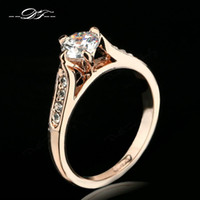 Wholesale Diamonds 1ct - Classic CZ Diamond 1ct Wedding Finger Ring Wholesale 18K Gold Plated Crystal Paved Fashion Jewelry For Women aneis joias DFR065