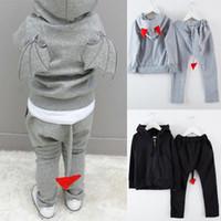 Wholesale Devil Children Set - Cartoon Fashion Boys Outfits Sets Devil Pattern Kids Boy 2pcs Set Suits New 2017 Children Clothes Long Sleeve Coat + Pants Grey Black A7538