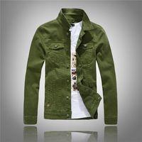 Wholesale Korean Style Jackets Men - 2016 Autumn New Stretch White Green Denim Jacket Men Fashion Slim Fit Korean Style Denim Men's Vintage Jeans Jacket US size XS S M L XL