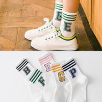 Wholesale Tube Socks Hot - 2017 Hot Korean Women Cotton Socks Girl Cute Letter Pattern Female Candy Color Three Stripe Fashion Tube Socks meias Free Shipping