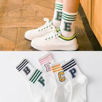 Wholesale Tube Socks Hot - New Hot Korean Women Cotton Socks Girl Cute Letter Pattern Female Candy Color Three Stripe Fashion Tube Socks meias Free Shipping