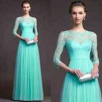 Wholesale Cheap Turquoise Prom Dresses - Turquoise Bridesmaid Dresses Cheap 2017 Hot Sale Long sleeves Lace Jewel Neck Evening Gowns Floor Length Formal Long Chiffon Prom Dress