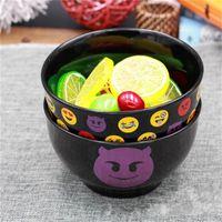 Wholesale Wood Salad - Cartoon Emoji Salad Bowls Dishware Household Lovely Smiling Face Ceramics Bowl Tableware Hot Sale 5 5qj C R