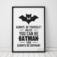 Wholesale Quote Prints Art - art print poster Batman Quote Canvas Art Print Poster, Wall Pictures for Home Decoration, Frame not include FA246-2