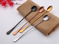 Wholesale Cold Heading Stainless Steel - Stainless Steel Multicolor Spoon Sharp Head And Round Head Coffee Scoops Mixing Scoop Set Cold Drink Fruit Long Handle Ice Scoop