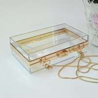 Wholesale Transparent Clear Tote - Lady Transparent Acrylic Perspex Clutch Night Party Bag Chain Purse Tote