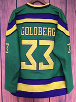 maglia di hockey di riflessione EJ Mighty Ducks Movie Jersey # 33 Greg Goldberg colore verde tutto cucito Retro hockey jersey