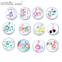 Wholesale Fit Symbol - 12pcs lot Mixed Colors Music Symbol 18mm snap button Jewelry Faceted glass Snap Fit snap Bracelet Jewelry KZ0175