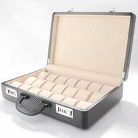 более чем 60 брендов оптовых-Новый деревянный Карбон ПУ кожа 21 Сетка 14 кулон наручные часы коробка Дисплей Коллекция Ящик Для Хранения Код Чехол чемодан высокого качества