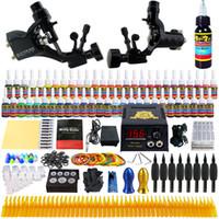 Wholesale Tattoo Gun Starter Set - Starter Beginner Complete Tattoo Kit Professional Tattoo Machine Kit Rotary Machine Guns 54 Inks Power Supply Needle Grips Set tk255