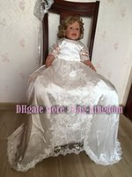 Wholesale Decent Gowns - Decent Christening Baptism Gown with flying ivory white silk lace and sash button back by Bag-kingdom