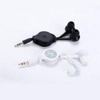 blackberry kopfhörer preis großhandel-einziehbarer 3,5-mm-Kopfhörer einfach In-Ear-Kopfhörer mit Kabel organisiert schwarz weiß Großhandel Großhandelspreis 75cm Länge