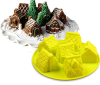 Wholesale Gingerbread Cake Mold - 3D mini Houses Cake mold Gingerbread Houses Silicone cake Mold Baking Tools free shipping