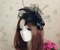 schwarzer hut weißer schleier großhandel-2018 Damen Elegante Hochzeit Haarschmuck Braut Fascinator Cocktail Hut für Party New Veil Schwarz Weiß Kopfschmuck