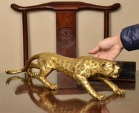 estatuas de leopardo al por mayor-Detalles sobre Chino Folk Bronze Copper Lucky Money Leopard Cheetah Art Statue Figuras 25cm