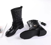 Wholesale Ladies Suede Lace Up Boots - Brand New Fashion Lous Women's Ankle Boots,Black Genuine Leather Cross Buckle Ladies' Winter Short Boots,Italy Luxury Knight Boots SZ:35-41