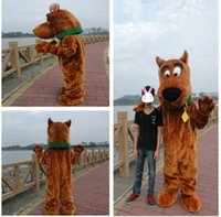 Wholesale Black Dog Nose - Brown Snoopy Dog Scooby Doo Mascot Costume Mascotte With Black Large Nose Cartoon Character Adult Fancy Dress No.51 Free Ship