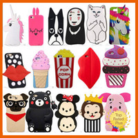 Wholesale Cartoon Leather Cover Case - For iPhone 7 3D Cute Animals Cartoon Soft Silicone Case Cover Back Skin For iPhone 5 6 6s Plus Samsung S7 Note LG