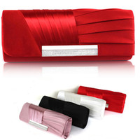 Wholesale Pink Ruffle Pillow - Elegant Red Black Ivory Blush Pink Pleated Satin Hand bag Wedding Bridal Accessory Prom Evening Party Handmade Clutch Handbag Free Shipping