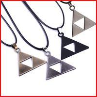 Wholesale triangle necklace pendant men - 4 COLORS Legend Of Zelda the Triforce Zelda Necklace Triforce Pendant for men women Alloy Triangle movie jewelry Christmas gift 160543