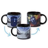 Wholesale Magical Coffee Cup - Doctor Dr. Who Disappearing Tardis Mugs Heat Reveal Color Change Coffee Cup Sensitive Ceramic Chameleon Magical Mug Novelty Gifts for Friend