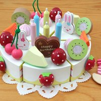 Wholesale Mother Garden Cake Set - Wooden Toy Kid'S Play House DIY Cake Building Block Toy Set New Mother Garden Wooden Christmas Gift For Kids E606E