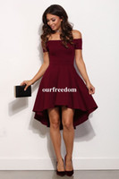Wholesale Sexy Size 18 Dresses - 2017 Burgundy Off The Shoulder Homecoming Dresses Hi Low Stain Empire Waist Cheap Junior Sweet 16 18 Party Gown Cocktail Dresses Portrait
