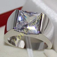 Wholesale Silver Square Bezel Ring - Men's Eternity 925 Silver Square Diamond Simulated CZ Stone Solitaire Ring