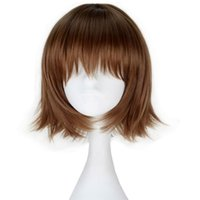 Wholesale Play Straight - Synthetic Short Straight Brown Chara Hair Girl's Role play Cosplay Costume Wig Halloween Party free cap