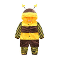 Wholesale Long Sleeve Baby Bodysuit 24 - Unisex Newborn Baby Cartoon Long Sleeve Yellow Hooded Romper Jumpsuit Bodysuit