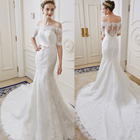 Wholesale Stella Lace Wedding Dress - Sleeves Wedding Dresses Bridal Plus Sizes Backless Wedding Gowns Mermaid 2016 Stella York Scoop Hollow 6207