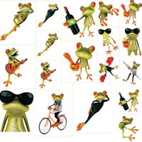 Wholesale Small Furniture Stickers - 500pcs Crazy DIY Frog Toilet Sticker Paste Smile Furniture Decorative Bathroom Wall Stickers 3D Personality Thermal Grease Home Decor ZA0635