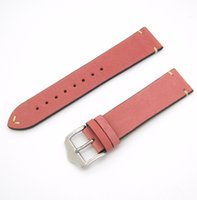 pink buckles NZ - 20mm 22mm Hot Sell New Women Genuine Cowhide Suede Leather Handmade Stitch Pink Watch Band Strap Belt Silver Polished Pin Buckle