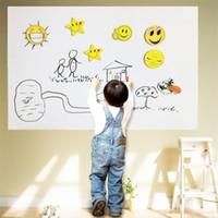 pvc duvar panoları toptan satış-45x200 CM PVC Beyaz Tahta Duvar Etiketler Çıkartmaları Vinil Çıkarılabilir DIY Beyaz Kurulu Sticker Marker Kalem ile Çocuklar için Perakende Perakende Ambalaj