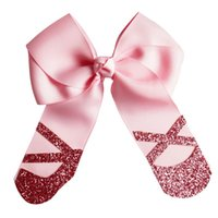 "Wholesale Girls Shoe Clips - Wholesale 4"" Glitter Cheer Bow Grosgrain Ribbon bows Glitter Dancing Shoes With Alligator Clips Girl Kids Cheerleading Bows 10Pcs lot"