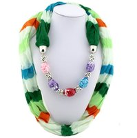 Wholesale Handmade Fashion Scarves Necklace - Women China Scarf Jewelry Women Personality Gradient Print Soft Wool Ring Scarf Necklace with Irregular Stone Charms Pendant Scarves