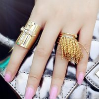 Corée Imported Mode Nouveau motif Diamond Pearl Cross Tassels Spring Hatch Joint Ring The Tide Ring
