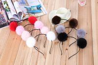 Wholesale fake fur accessories resale online - Artificial Fake Rabbit Fur Ball Girls Headwear Christmas Party Headband Princess Women Hairband Hair Accessories Xmas gift
