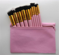 Wholesale Foundation Piece - 2017 Hot Makeup Professional Brush set Cosmetic Foundation BB Cream Powder Blush 10 pieces Makeup Tools Black White Pink with Pouch DHL